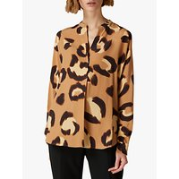 Jaeger Animal Silk Tunic Top, Camel