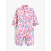 John Lewis & Partners Baby Floral Print UV SunPro Swimsuit, Pink
