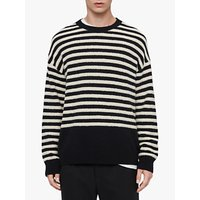AllSaints Keet Striped Crew Neck Jumper, Ink Navy/Ecru