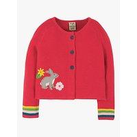 Frugi Baby GOTS Organic Cotton Rabbit Knit Cardigan, Pink
