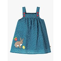 Frugi Baby GOTS Organic Cotton Linen-Blend Hallie Dress, Blue