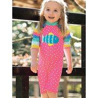 Frugi Baby Little Sun Safe Fish Swimsuit, Pink/Multi