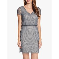 Image of Adrianna Papell Blouson Beaded Dress, Pewter/Silver