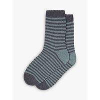 Brora Cashmere Stripe Socks, Lead/Glacier