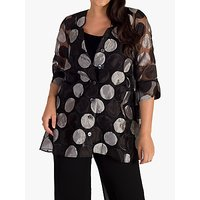 chesca Sheer Organza Long Shirt, Black/Silver