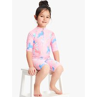 John Lewis & Partners Girls' Unicorn SunPro Swimsuit, Pink