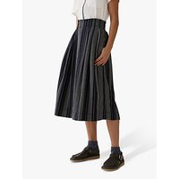 Toast Cotton Linen Stripe Skirt, Indigo/White