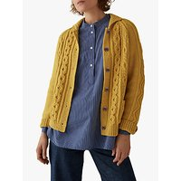 Toast Wool Cotton Collared Cardigan, Pale Gold