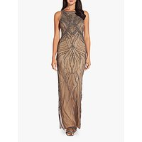Adrianna Papell Beaded Halter Neck Maxi Dress, Nude/Lead
