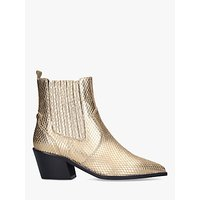 shop for Carvela Stella Leather Western Style Ankle Boots, Gold at Shopo