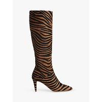 shop for L.K.Bennett Gini Zebra Print Calf Hair Knee Boots, Multi at Shopo