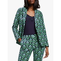 Boden Sackville-West Velvet Floral Blazer, Navy/Green