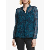 Boden Lavinia Silk Blouse, Navy/Marbled Dreams