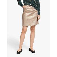 Boden Metallic Denim Mini Skirt, Gold