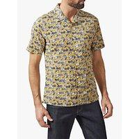 Richard James Mayfair Ginko Floral Leaf Print Cuban Collar Shirt, Yellow/Multi
