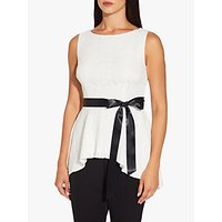 Image of Adrianna Papell Lace Peplum Top, Ivory/Black