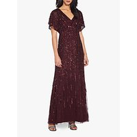 Adrianna Papell Flutter Sleeve Beaded Gown