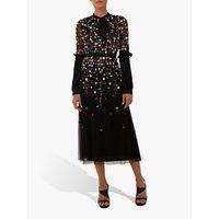 Raishma Cleo Floral Embellishment Dress, Black