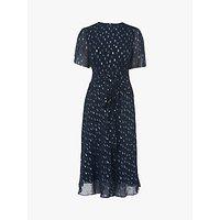 L.K.Bennett Eve Tie Waist Spot Dress, Midnight