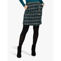 Monsoon Talia Check Mini Skirt, Teal