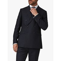 Jaeger Wool Pinstripe Regular Fit Double Breasted Suit Jacket, Navy