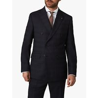 Jaeger Regular Fit Double Breasted Check Suit Jacket, Navy