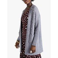 Yumi Pearl Applique Knit Long Cardigan, Grey
