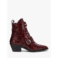shop for AllSaints Katy Crocodile Leather Pointed Ankle Boots, Red at Shopo