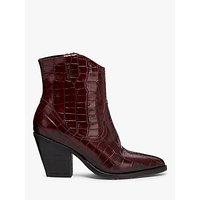 shop for AllSaints Rolene Croc Leather Western Cowboy Boots, Red at Shopo