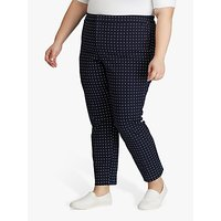 Lauren Ralph Lauren Curve Polka Dot Stretch Twill Trousers, Lauren Navy/Silk White