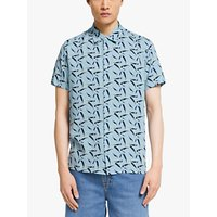 Kin Palm Print Short Sleeve Shirt, Light Blue