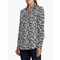 Lauren Ralph Lauren Floral Cotton Voile Shirt, Lauren Navy/Cream