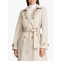 Lauren Ralph Lauren Faux Leather Trim Trench Coat, Tone Cream