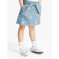 John Lewis and Partners Girls Denim Embroidered Skirt, Blue