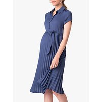 Séraphine Pleat Maternity and Nursing Shirt Dress, Slate Blue