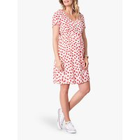 Seraphine Button Through Maternity Dress, Red/White