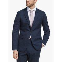 John Lewis and Partners Wool Silk Linen Slub Check Slim Fit Suit Jacket, Navy