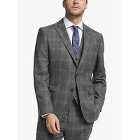 John Lewis and Partners Twisted Check Wool Regular Fit Suit Jacket, Grey