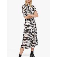AllSaints Xena Long Zephyr Zebra Print Dress, Ecru White/Black