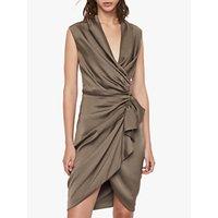 AllSaints Cancity Gathered Dress, Ash Grey