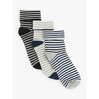 John Lewis & Partners Organic Cotton Rich Turn Over Cuff Stripe Ankle Socks, Pack of 3