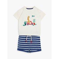 John Lewis and Partners Baby GOTS Organic Cotton Giraffe T-Shirt and Shorts Set, Navy/Ivory