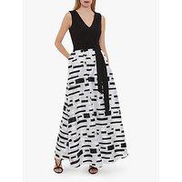 Gina Bacconi Pari Crepe and Organza Pattern Maxi Dress