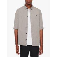 AllSaints Redondo Plain Cotton Shirt, Flint Grey