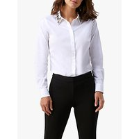 Pure Collection Jewelled Collar Cotton Shirt, White