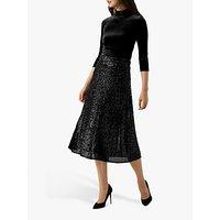 Pure Collection Sequin Midi Skirt, Black