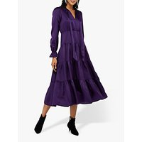 Monsoon Violet Silk Cotton Tiered Midi Dress, Purple