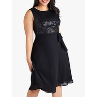 Yumi Curves Sequin Bodice Midi Dress, Black