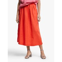 John Lewis and Partners Linen Midi Skirt, Orange