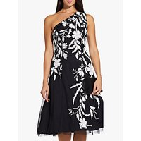 Adrianna Papell Asymmetric Embellished Dress, Black/Ivory